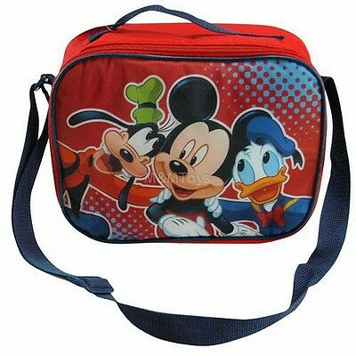 New Disney Mickey Mouse Red Insulated Lunch Box Bag w/Shoulder Adjustable Strap