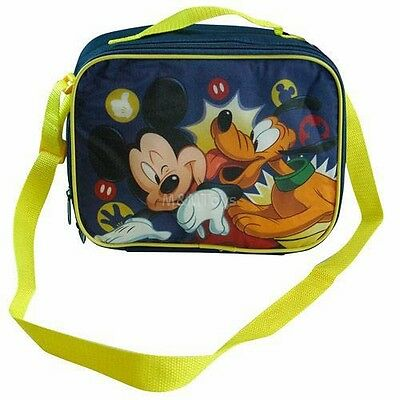 New Disney Mickey Mouse Blue Insulated Lunch Box Bag w/Shoulder Adjustable Strap