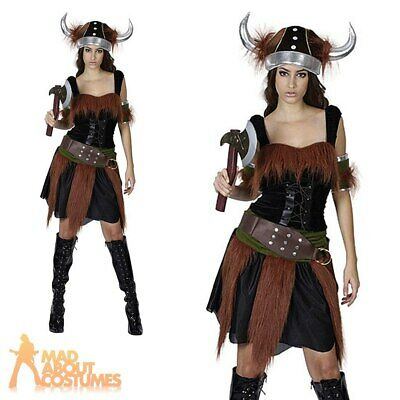 Adult Viking Lady Costume Warrior Princess Fancy Dress Womens Ladies Outfit New  sc 1 st  PicClick UK & WOMENS LADIES VIKING Barbarian Warrior Princess Fancy Dress ...
