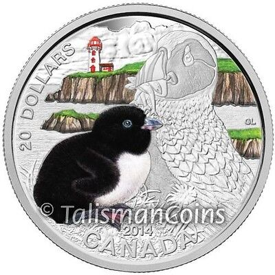 2014 Proof $20 Baby Animals #2-Atlantic Puffin Canada .9999 silver COIN/&COA ONLY