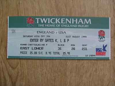 England v USA 1999 Used Rugby Ticket