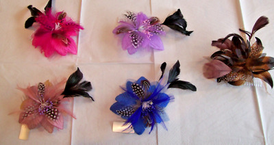 Wedding Ascot Races Prom Flower Fascinator with Pearls Pink Lilac Royal Blue