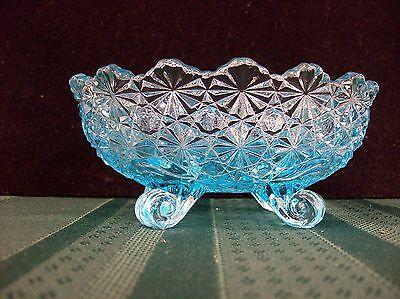 L G Wright Daisy & Button Blue Footed Small Oval Candy / Nut bowl