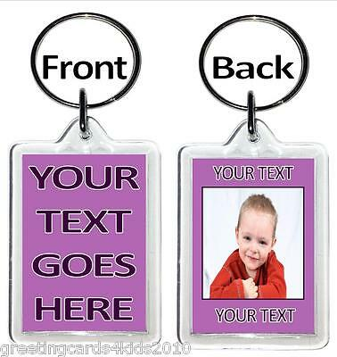 Personalised Photo Keyrings - YOUR TEXT AND PHOTO