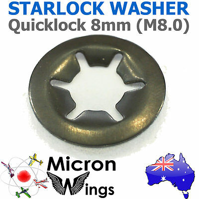 10 x Quicklock Starlock 8mm (M8.0) Speed Lock Washer (star lock locking washer)