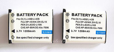2XBattery For Pentax Optio M30 M40 M90 M900 T30 V10 W30 Digital Camera