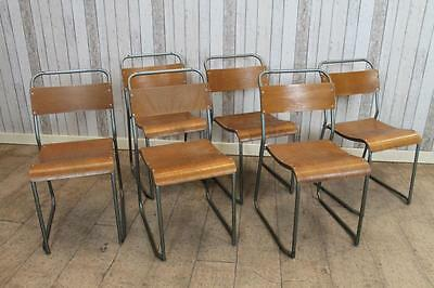 Retro Stacking Chairs With Plywood Seats Large Quantity Available