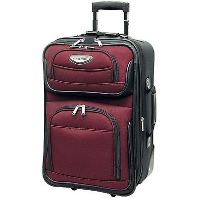 "Traveler Choice Red Amsterdam Carry-on 21"" Expandable Wheel Luggage Suitcase Bag"