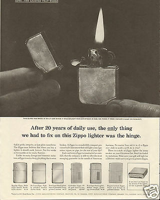 1958 Zippo The Lighter That Works for a Lifetime LARGE Magazine Ad