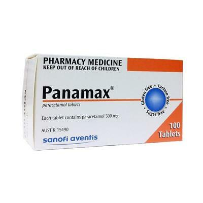 ツ Panamax - Paracetamol 500Mg 100 Tablets For Arthritis Headaches Fevers Pain