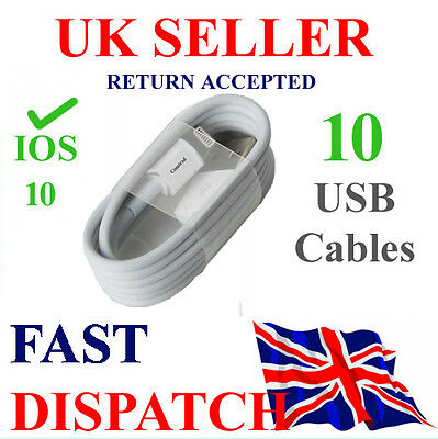 10 x USB CABLES SYNC LIGHTENING Fits FOR APPLE IPHONE 5 6 7 PlusIPAD MINI 4 IPOD