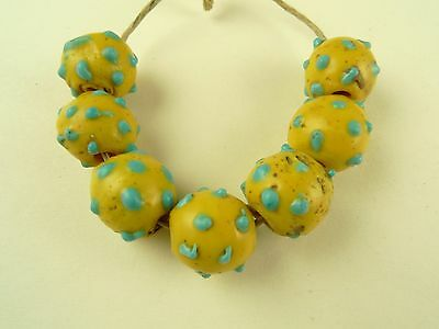 7 pcs matched yellow turquoise eye Venetian glass beads tribal African trade