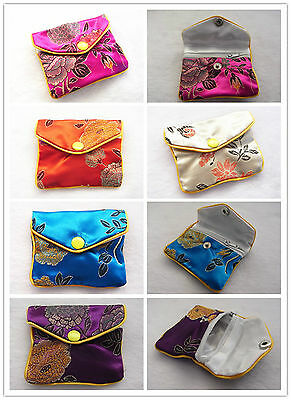 10pcs Silk Mini Pouches Jewellery Rings Earrings Beans Purses Gifts Bags 5 Color