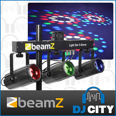 Beamz All-In-One 3Some Tri Moonflower RGBW LED DJ Disco Party Effect Light Set