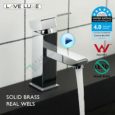 Square Bathroom Brass Basin Mixer Tap Vanity Flick Faucet Chrome WELS WaterMark