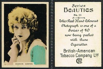 BAT - Beauties (Hand-coloured) 1925 #1 to #40 Actress Cigarette Cards
