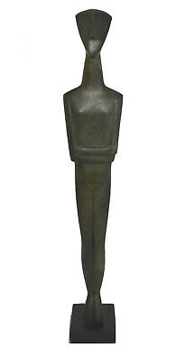 Cycladic figurine Great Bronze marble based Aged sculpture artifact