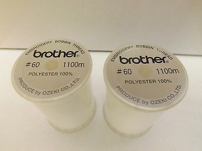 TWO Brother Sewing Machine WHITE EMBROIDERY BOBBIN THREADS 1100m (METRES) EBTCEN