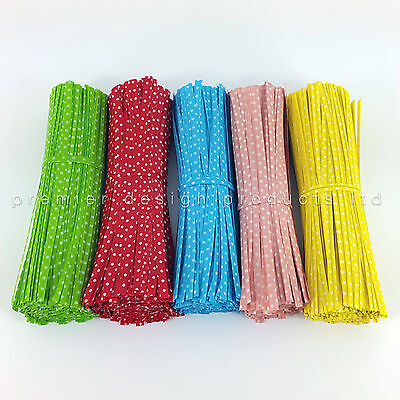 "COLOURED POLKA DOT TWIST TIES for Cone cello gusset bags 4.5"" 10cm"