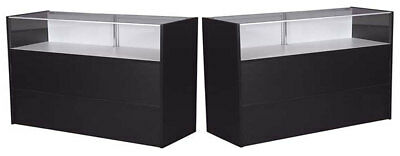 """60"""" Jewelry Showcase Counter w/Light Retail Store Display Assembled Black New"""