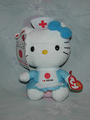 """Ty Hello Kitty Hello Japan I Heart Japan Red Cross Doll - 6"""" - With Tags"""