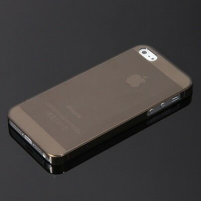 Ultra Thin Transparent Crystal Black Matte Hard Case Cover for iPhone 5 5S