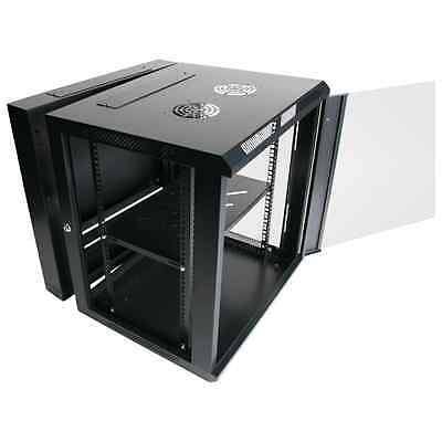 "12RU 12U 19"" 19 Inch 600mm Deep Wall Mount Data Rack Cabinet & Rear Swing Frame"
