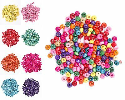 500 Pcs Colorful Rondelle Wood Spacer Loose Beads Charms 4*3MM