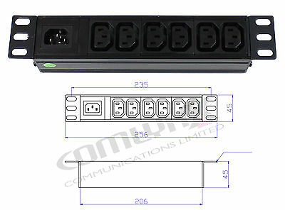 "10"" 6 Way IEC Detachable Power Distribution Box Unit Splitter PDU Data Rack"