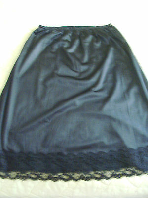 "BLACK NYLON HALF SLIP 25"" LONG 26"" WAIST UNSTRETCHED UNION MADE USA LACE TRIM"