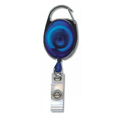 Retractable Reel Key ID Card Badge Clip Holder Carabiner Style Translucent Blue