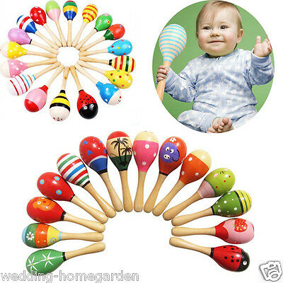 Wooden Maraca Wood Rattles Musical Party Favor Baby Crib Shaker Kid Toy pe305