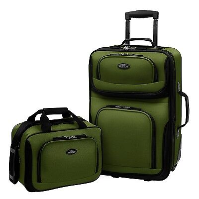US Traveler Green Rio 2-Piece Carry-on Expandable Rolling Luggage Tote Bag Set