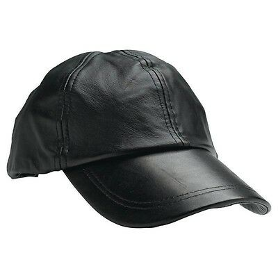 Solid Genuine Black Leather Adjustable Motorcycle Biker Baseball Cap Mens Womens