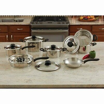 New 9 Element 18pc T304 Stainless Steel Waterless Cookware Set Pots & Pans