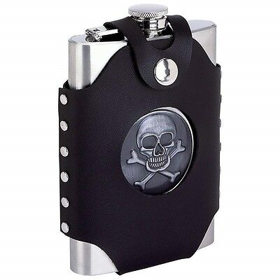 8oz SKULL FLASK Black Faux Leather Belt Loop Holder Stainless Steel Biker Liquor