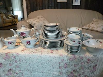 Service for 8 Kyoto China Rosalia 60 Piece Set Made in Japan  7213