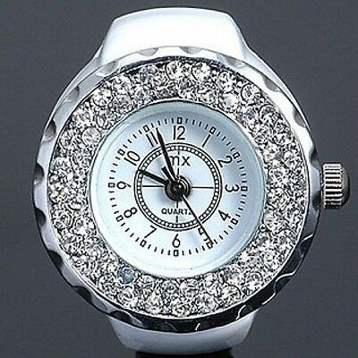 Designer Style Wag Femmes Filles Blanc Bague Doigt Watch w/Bling Ice Crystals