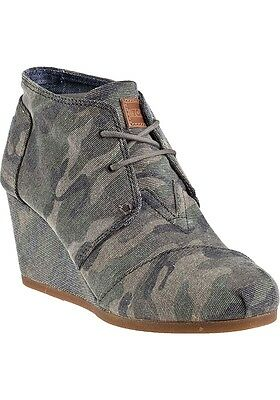 TOMS Classics Women's Desert Wedge Washed Camo Canvas Shoes
