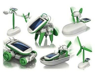 Amazing DIY Solar Toy Build Car Boat Helicopter For Kids Education Kit 6 in 1