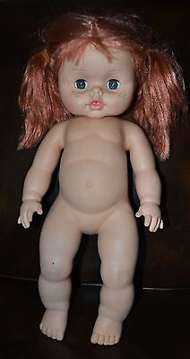 """Vintage 1971 HORSMAN DOLL red hair rubber body drink & wet water baby doll 18"""""""