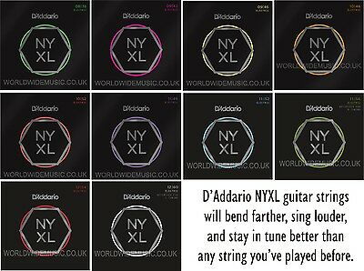 D'Addario NYXL Nickel Wound Electric Guitar Strings with a choice of 15 gauges