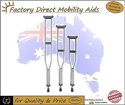 Underarm Crutches Small / Medium / Large Adjustable Aluminium RRP $55 each!