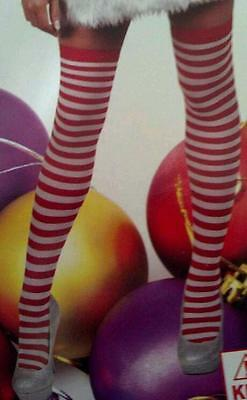 Red and white stripe/striped stocking/thigh/sock party/costume