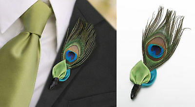 Peacock Feather Boutonniere Wedding Groom Buttonhole Accessory Lapel Pin