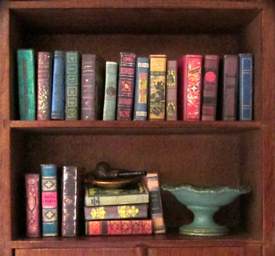 VINTAGE STYLE 21 Miniature Books Dollhouse 1:12 Scale Fill Bookshelf PROP Book