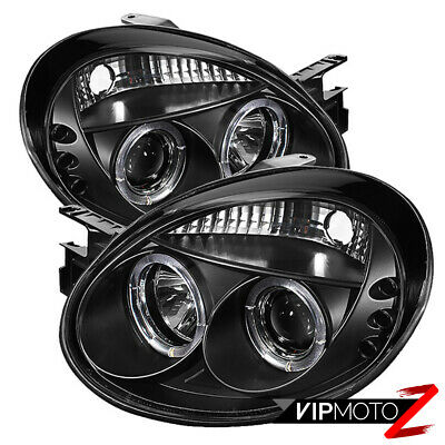 New Pair LED Projector Black Headlight Dual Halo Lamp 2003-2005 Dodge NEON