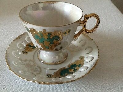 Vintage Hand Painted Tea Cup and Saucer Made in Japan 1940's