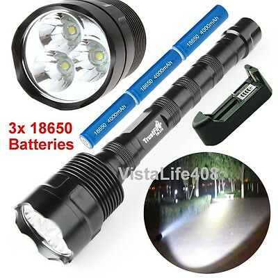 3800 Lumen CREE XML 3x T6 LED Flashlight Torch Lamp Light + Batteries + Charger