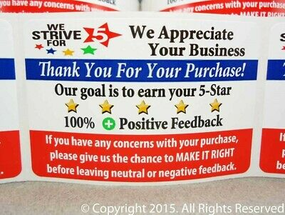 100 on ROLL eBay Thank You For Your Purchase 5 Star Label Labels Stickers 2x3